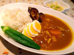 茄子と豚肉のオクラカレー