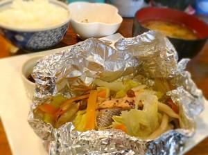 鮭のホイル焼き定食